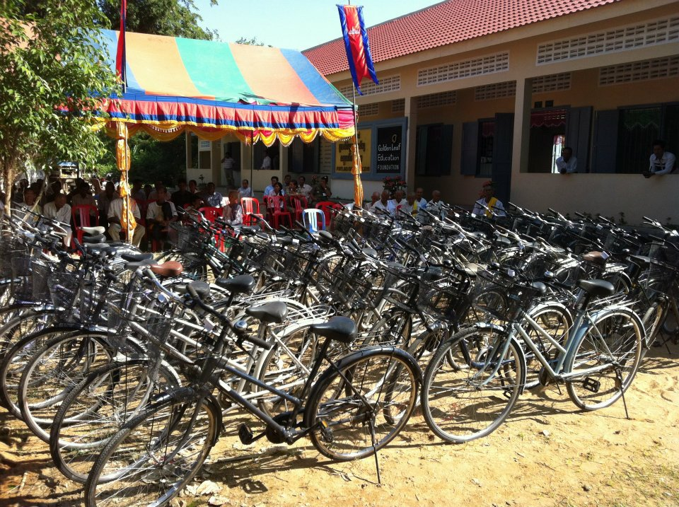 Rows of the bikes donated to students at the Âng School were lined up and ready to be received.
