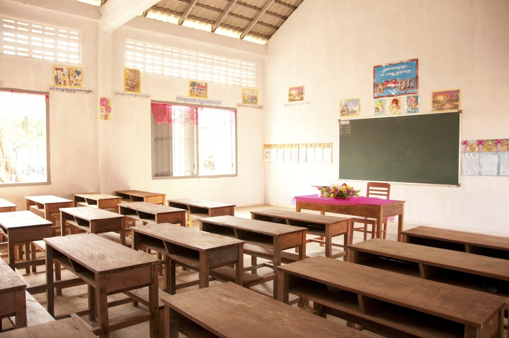 Brand new desks in one of the new Âng School classrooms.